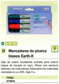 BI-OFFICE MARCADORES EARTH-IT ESTUCHE 4 UD COLORES SURTIDOS PIZARRA BLANCA PE2206