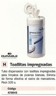 DURABLE TOALLITAS IMPREGNADAS WHITEBOARD CLEAN BOX 100UD TUBO DISPENSADOR 5759