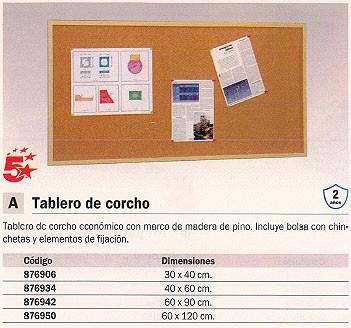 5 STAR TABLERO DE CORCHO 30X40 CM MARCO MADERA 607-1