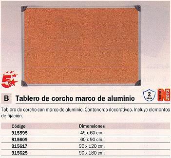 5 ESTRELLAS TABLERO DE CORCHO 90X180 MARCO DE ALUMINIO CA071170