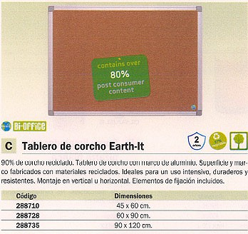 BI OFFICE TABLERO DE CORCHO EARTH IT 60X90 VERTICAL U HORIZONTAL 100430171