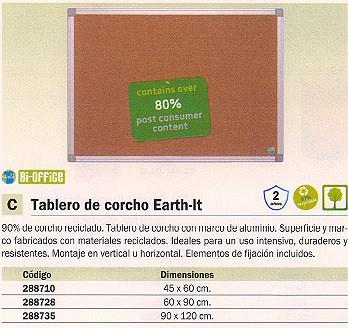 BI-OFFICE TABLERO DE CORCHO EARTH-IT 45X60 MARCO ALUMINIO CA021790