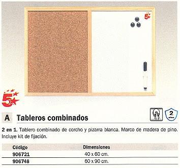 5 ESTRELLAS TABLERO COMBINADO 40X60CM CORCHO Y PIZARRA BLANCA MX03001010