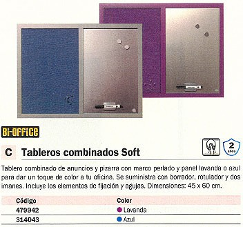 BI OFFICE TABLERO TAPIZADO 45X60 CM LAVANDA MX04330608