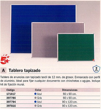 5 STAR TABLERO TAPIZADO 90X120 GRIS MARCO ALUMINIO FA0542170