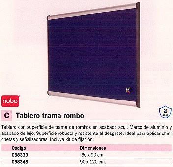 NOBO TABLERO TAPIZADO 90X120 CM AZUL MARCO ALUMINIO QBPM1290B