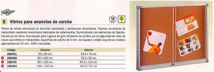 FAIBO VITRINA CORCHO 90X120 CM PUERTAS CORREDERAS METACRILATO 614-3U