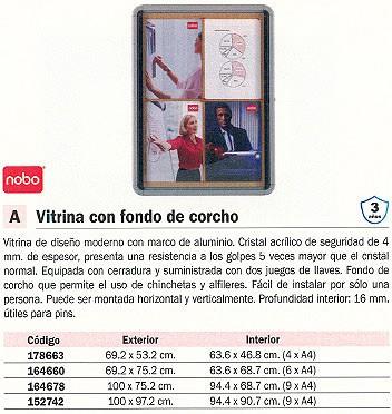 NOBO VITRINA FONDO CORCHO 69,2X75,2 CM MARCO ALUMINIO CRISTA ACRÍLICO 1902562