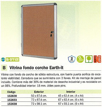 BI OFFICE VITRINA FONDO CORCHO EARTH IT 72X67,4 CM PUERTA ACRILICA RVT620101150