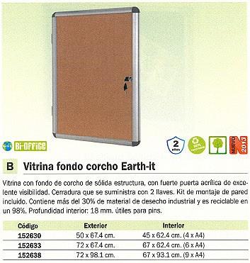 BI-OFFICE VITRINA CORCHO EARTHIT 4X A4 MAGNETICO RVT610101150