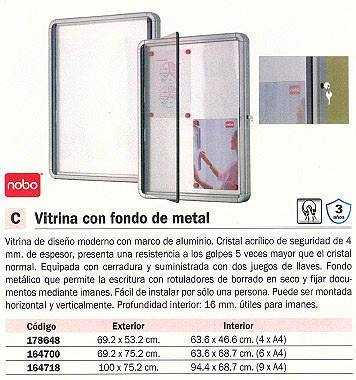 NOBO VITRINA INTERIOR METALICO 69,2X75,2 CM CRISTAL ACRILICO 1902558