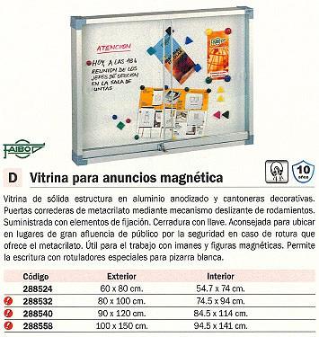 FAIBO VITRINA MAGNETICA 100X150 CM EXT. 94,5X141 CM INT. 634-4U