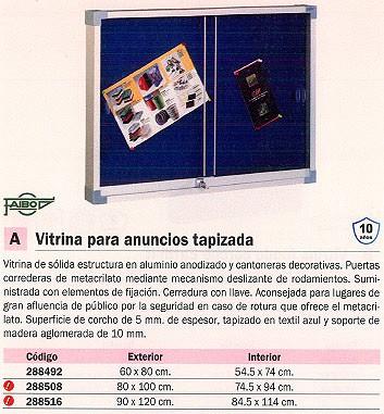 FAIBO VITRINA INTERIOR 90X120 TAPIZADA AZUL 614T 3AU