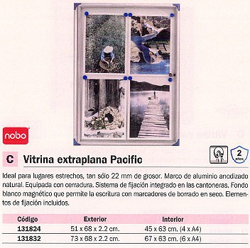 NOBO VITRINA EXTRAPLANA PACIFIC 51X68X2,2 CM EXT. 4X A4 INT. 1900846