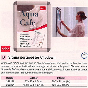 NOBO VITRINA CLIPDOWN 45,8X33,5X1,7 CM EXT. A3 INT. 1902213