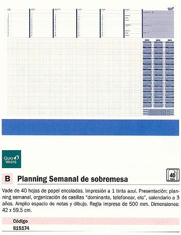 QUO VADIS PLANNING SEMANAL 42X59,5 PAPEL 40 HOJAS 24501214MQ