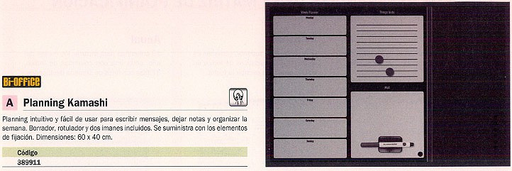 BI-OFFICE PLANNING KAMASHI 60X40 CM BORRADOR, ROTULADOR E IMANES INCLUIDOS MX03402169