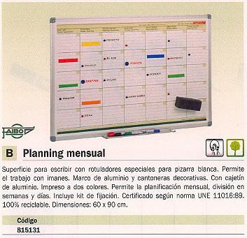 FAIBO PLANNING MAGNETICO MENSUAL 60X90 CM ROTULADORES PIZARRA BLANCA PLM