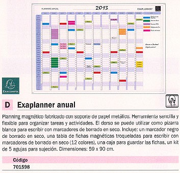 EXACOMPTA PLANNING MAGNETICO ANUAL 59X90 CM 56155S