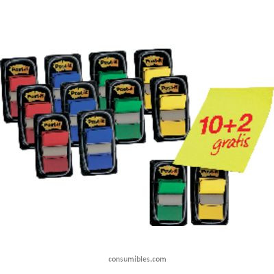POST IT INDICES ADHESIVOS PACK 10UD + 2 REGALO FT600003527