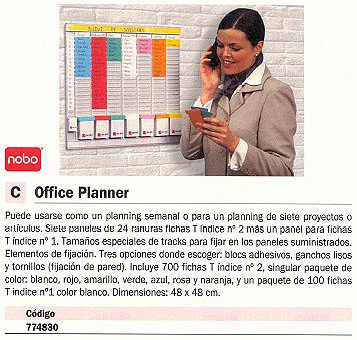 NOBO KIT OFFICE PLANNER 48X48 CM INDICE 2 24 RANURAS 2911080