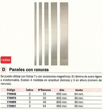 NOBO PANEL PLANNINGS 655 MMX96 MM INDICE 3 32 RANURAS 1900399