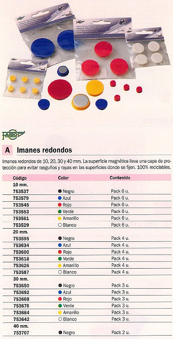 FAIBO IMANES BOLSA 4 UD 20 MM BLANCO REDONDO 60-20-01