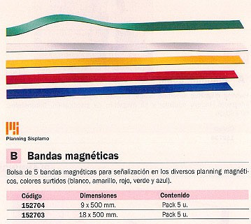 PLANNING SISPLAMO BANDAS MAGNETICAS BOLSA 5 UD 9X500 MM DIV COLORES 9012/S
