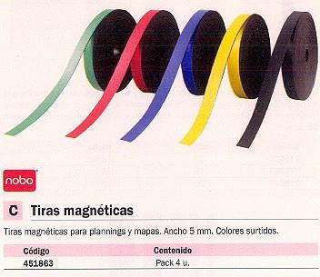 NOBO TIRAS MAGNETICAS 4 UD ANCHO 5MM COLORES SURTIDOS 7021500