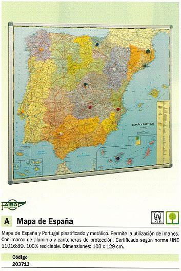 FAIBO MAPA ESPAÑA 103X129 MAGNETICO PLASTIFICADO MARCO ALUMNIO 153