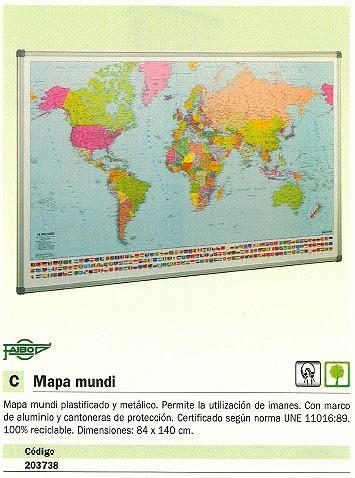 FAIBO MAPA MUNDO 74X140 MAGNETICO PLASTIFICADO MARCO ALUMNIO 173