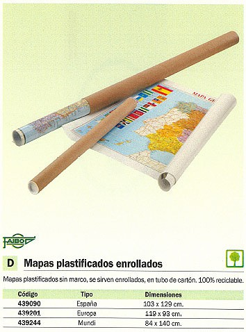FAIBO MAPA MUNDO 84X140 PLASTIFICADO SIN MARCO 173G