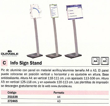 DURABLE EXPOSITOR METALICO INFO SIGN STAND A3 ALTURA MAX. 125CM 4813-23