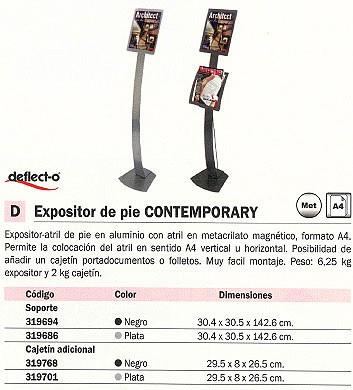 DEFLECTO EXPOSITOR DE PIE CONTEMPORARY 20X12,5X22 CM NEGRO CAJETÍN ADICIONAL 693404