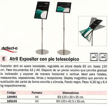 DEFLECTO ATRILES EXPOSITOR 83-120 CM ALTURA 83,5-118,5X33X33CM A4 FONDO NEGRO PIE TELESCÓP. 790845