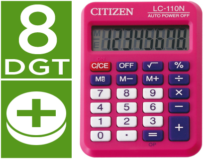 Calculadoras de bolsillo CITIZEN CALCULADORA CITIZEN BOLSILLO LC-110 8 DIGITOS ROSA