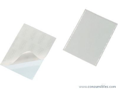 Bolsillos adhesivos DURABLE BOLSILLO ADHESIVO POCKETFIX PAQ.25UD 148X210 ADHESIVO APERT. SUPERIOR TRANSPARENTE 519650
