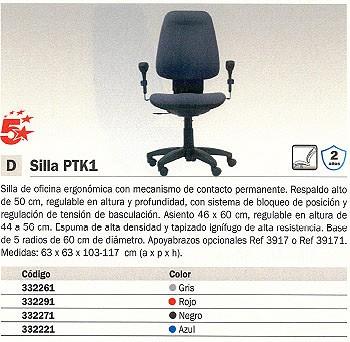 5 ESTRELLAS SILLA VIENA REGULABLE GRIS 1017CP-GR