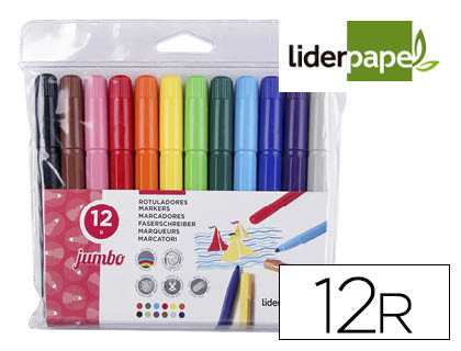 ROTULADOR LIDERPAPEL JUMBO BOLSA 12 COLORES RT08