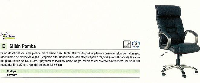 ARCHIVO 2000 SILLONES DE DIRECCIÓN POMBA SIMIL PIEL NEGRO SIMIL PIEL BRAZOS INCLUIDOS 6453NE