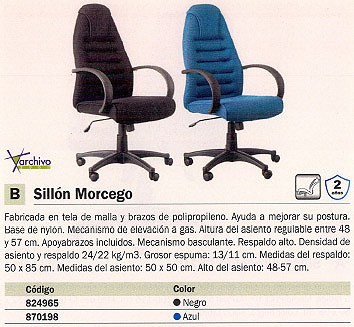 ARCHIVO 2000 SILLÓN DE DIRECCIÓN MORCEGO AZUL 6457AZ