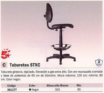 5 STAR TABURETE GIRATORIO CON RESPALDO BOGOTÁ NEGRO T12 CLARAN 840