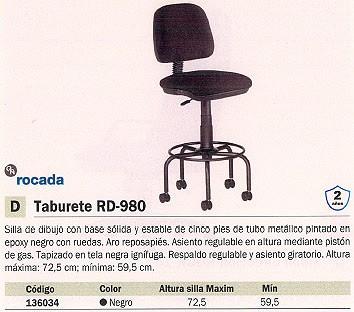ROCADA SILLAS ALTURA MAX. 72,5 CM NEGRO RD 980