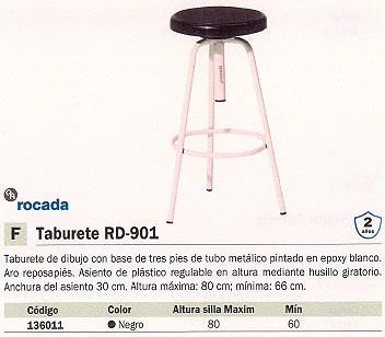 ROCADA TABURETES RD 901 ALTURA MAX. 80 NEGRO GIRATORIO CON ARO REPOSAPIÉS RD 900/1