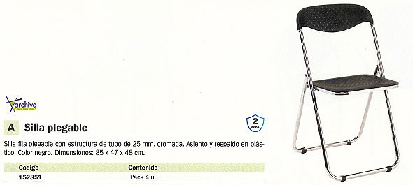 5 STAR PACK 6 SILLAS PLEGABLES MACAO 44 X 50 X 78 CM. NEGRO 265NE