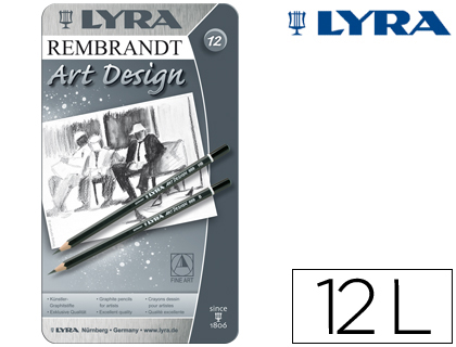 Lapices de grafito LAPICES DE GRAFITO LYRA REMBRAND ART DESIGN CAJA DE 12 GRADUACIONES 6B 5B 4B 3B 2B B HB F H 2H 3H 4H