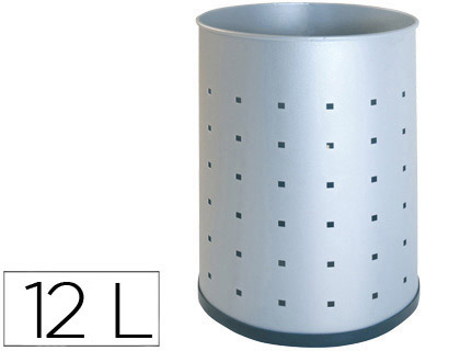 Papeleras metalicas MARCA BLANCA PAPELERA METALICA 101-R PLATEADA PINTADA PERFORADA 315X215 MM
