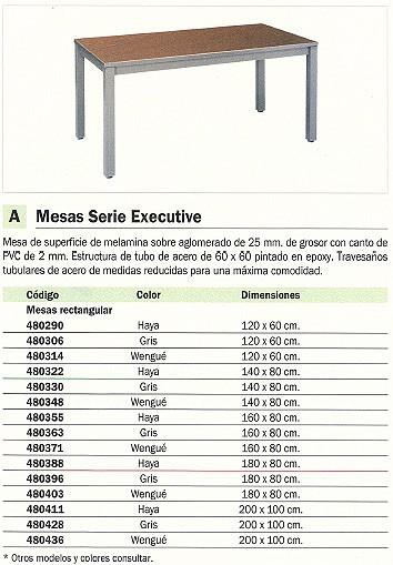ROCADA MESA RECTANGULAR SERIE EXECUTIVE ESTRUCTURA TUBO DE ACERO 60 X 60 200X100CM GRIS 2005AD02