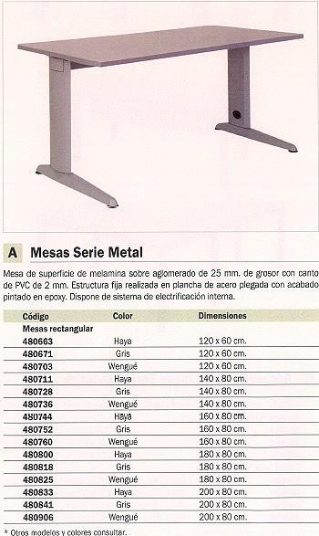 ROCADA MESA RECTANGULAR SERIE METAL ESTRUCTURA EN FORMA DE L 180X80CM HAYA 2003AC01