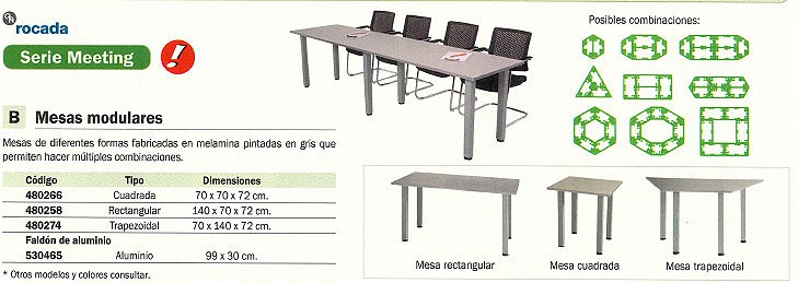 ROCADA MESA RECTANGULAR SERIE MEETING MELAMINA 220X100CM WENGUE 3003AT03